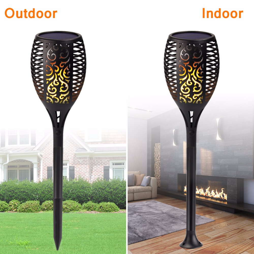 2Pcs/1Pcs Solar Flame Flickering Lawn Lamp Led Dancing Flame Light Solar Outdoor Waterproof Garden Decor Lamp Solar Garden Light hot 96led solar powered flame flickering wall light vintage lamp outdoor waterfproof garden fence door corridor decor
