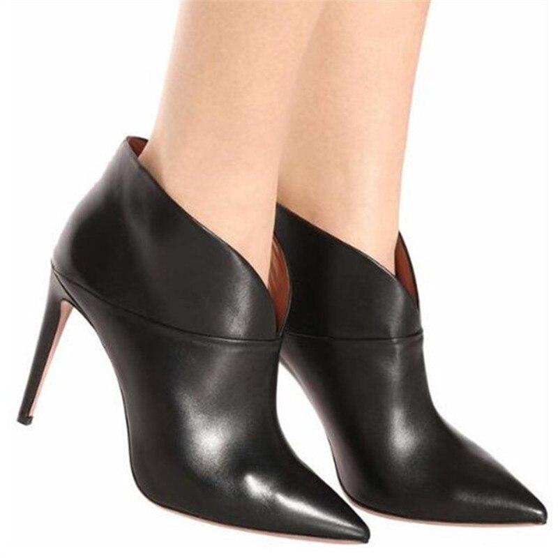 En Stiletto Bombas Mujeres Resbalón 46 Moda Feminina As Pic Negro Cuero Mujer Zapatos De V Botines Gran Motocicleta Tamaño Tacón Alto Bota BpwHqd