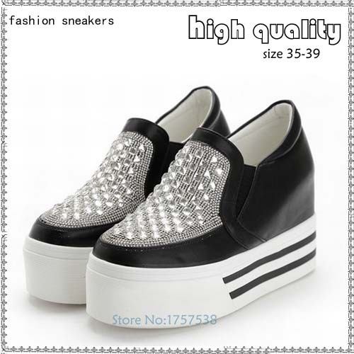 2017 fashion women high heels wedge platform shoes slip on low top rhinestone height increasing white for women's casual shoes isabel fashion platform wedge casual shoes women height increasing shoes 2016 soft leather high top casual shoes boots