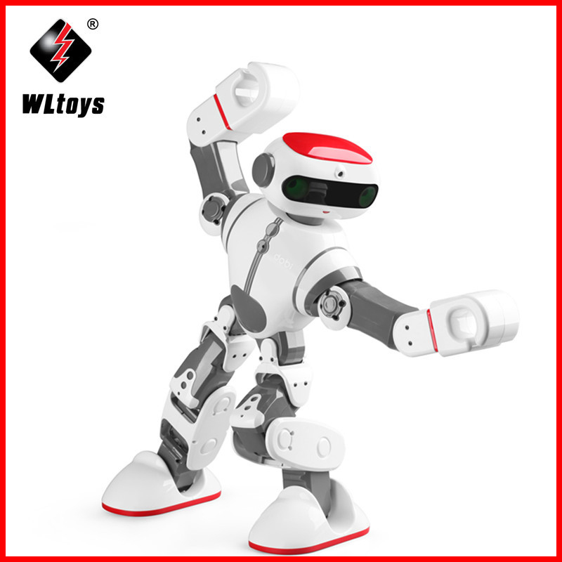 все цены на origial WLtoys F8 Dobi Intelligent Humanoid RC  Robot Voice Control RC Robot with Dance/Paint/Yoga/Tell Stories RC Toy Model онлайн