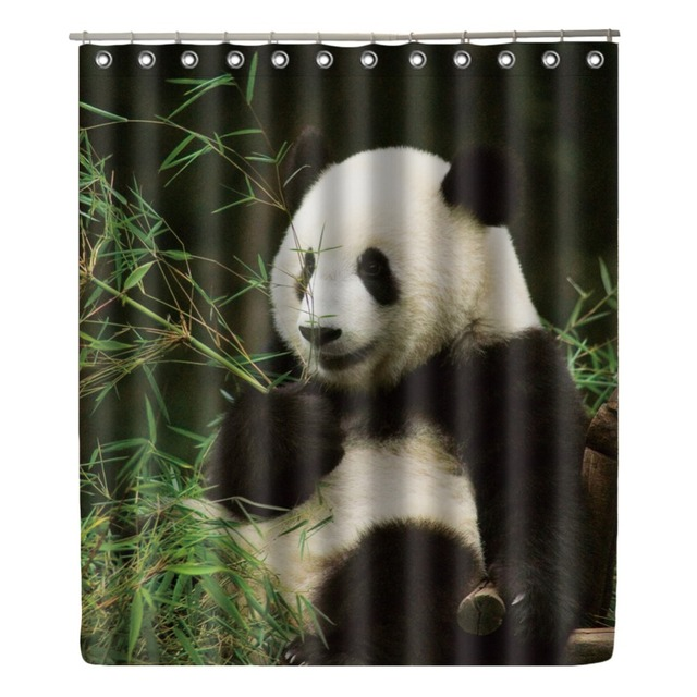 WONZOM Panda Shower Curtain Waterproof Bamboo Bathroom Modern Animal Bath With 12 Hooks Accessories Home Decor