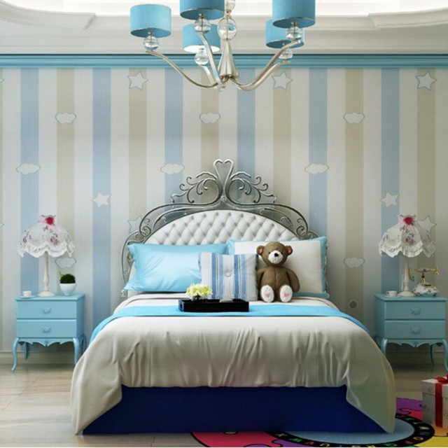 US $28.8 36% OFF|Beibehang 3D tapete kinderzimmer für jungen und mädchen  warme schlafzimmer tapete rosa blau vertikale streifen sterne tapete rolle  ...