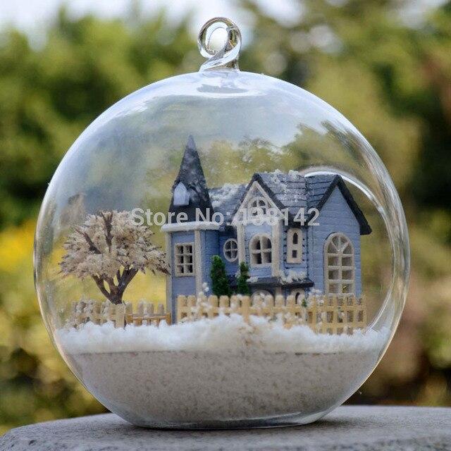 B004 ангел фея город миниатюрный замок кукольный домик из светодиодов свет кукольный дом в стеклянный шар diy игрушки бесплатная доставка