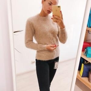 Image 2 - Nieuwe echte nerts kasjmier trui vrouwen 100% nertsen kasjmier truien met coltrui kraag gratis verzending JN465