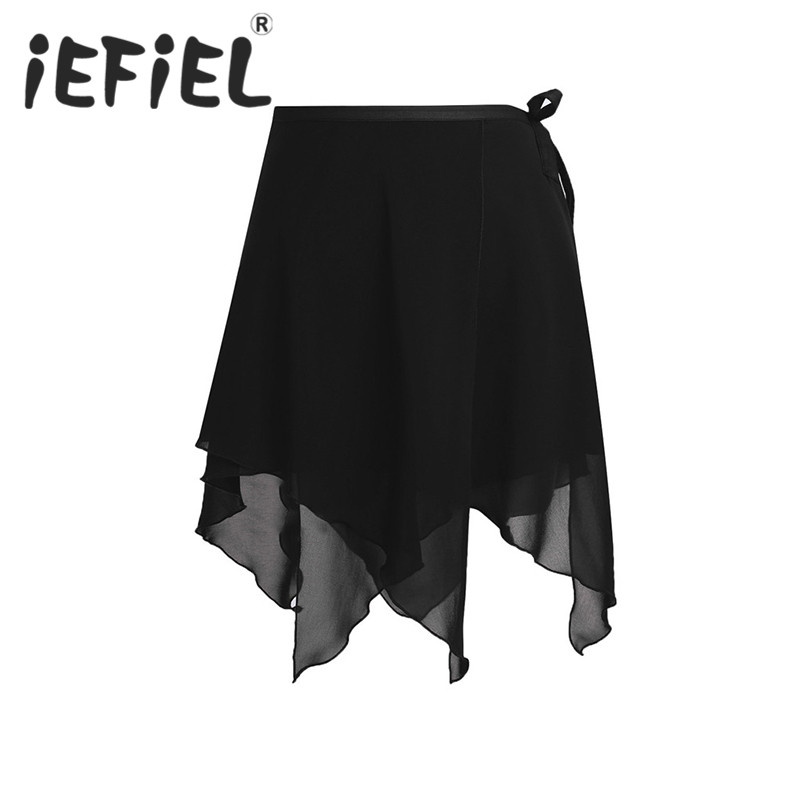 iEFiEL 4 Colors Women Girls Tulle Skirt Asymmetric Chiffon Ballet Wrap Skirt Dance Skate Wrap Over Scarf for Dance Performance