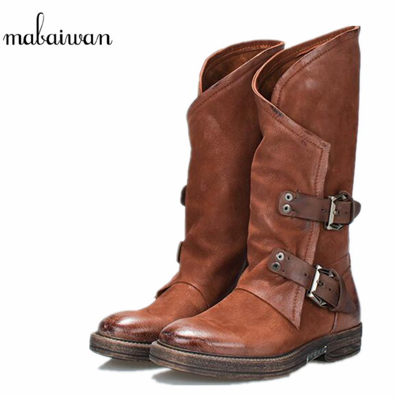 Mabaiwan New Fashion Genuine Leather Women Shoes Winter Snow Mid Calf Boots Flats Buckle Shoes Women Military Short Martin Boots mabaiwan handmade rivets military cowboy boots mid calf genuine leather women motorcycle boots vintage buckle straps shoes woman