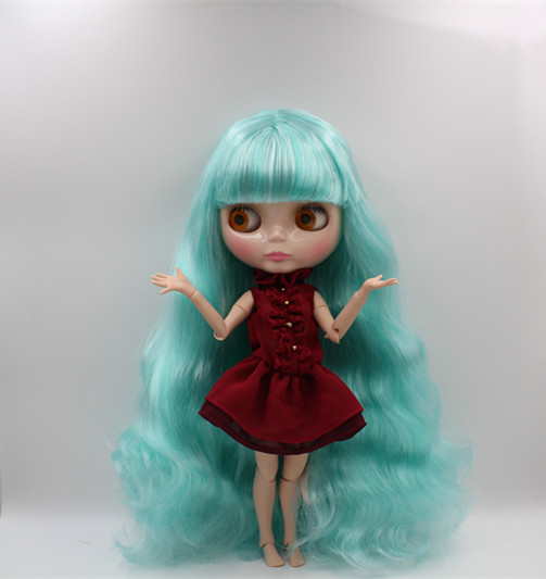 Blygirl Blyth doll Green and white mixed Liu Hai curly hair nude doll 30cm joint body 19 joint DIY doll can change makeup blyth nude 30cm fashion red and black boneca cabelos longos bonecos colecionaveis doll toys for children girls