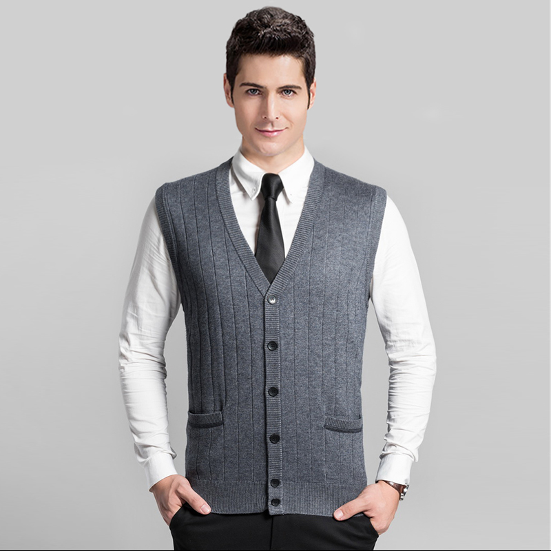 High Quality Fashion Men's V-neck Solid Color Sweater Vest Cardigan With Buttons