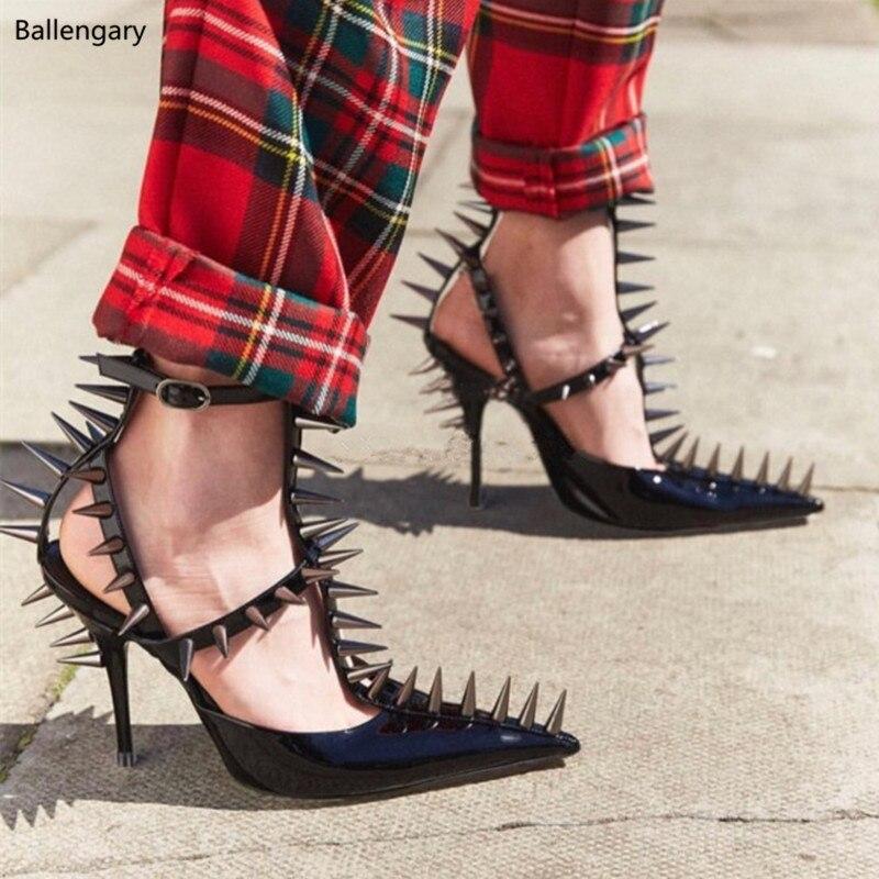 610b2f5ca28 Talons Sexy Gladiateur Stiletto strap Spécial Femmes Souper Punk Noir Blanc  Bout Haut Rivets as Pompes As T Show Chaussures Pointu ...