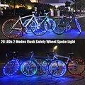 Recentes Fresco Ciclismo Bicicleta À Prova D' Água 20 LEDs 2 Modos de Flash Segurança Raios Da Bicicleta Da Roda Falou Luz Luzes Decorativas