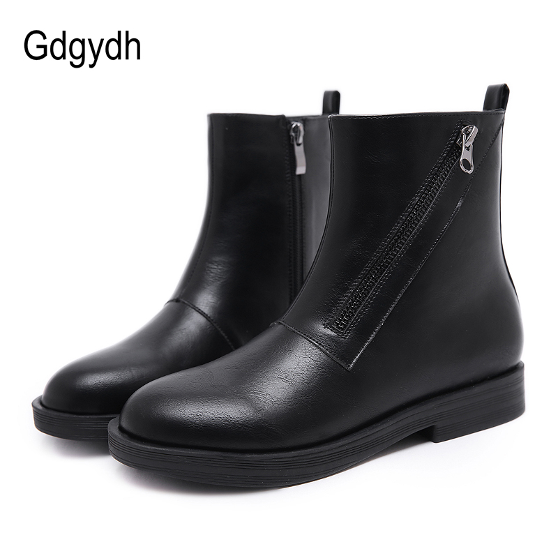 Gdgydh Autumn Chelsea Boots New Arrival Female Shoes Square Heels Fashion Zipper Black Round Toe Platform Heels Shoes Women gdgydh women platform heels ankle boots zipper high heels female booties shoes black round toe ladies shoes big size 2018 autumn