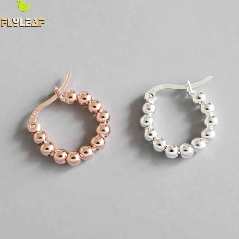 Flyleaf Rose Gold Beads Hoop Earrings For Women 2018 New Trend 100% 925 Sterling Silver Lady Fashion Jewelry