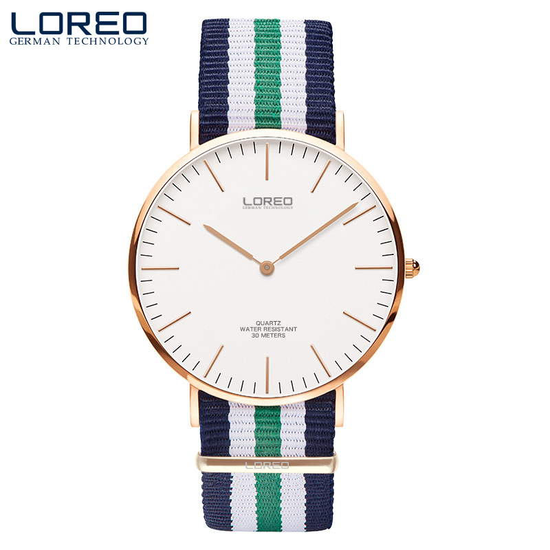 LOREO sapphire crystal automatic self wind stainless steel 30m water resistant quartz watch simple fashion canvas