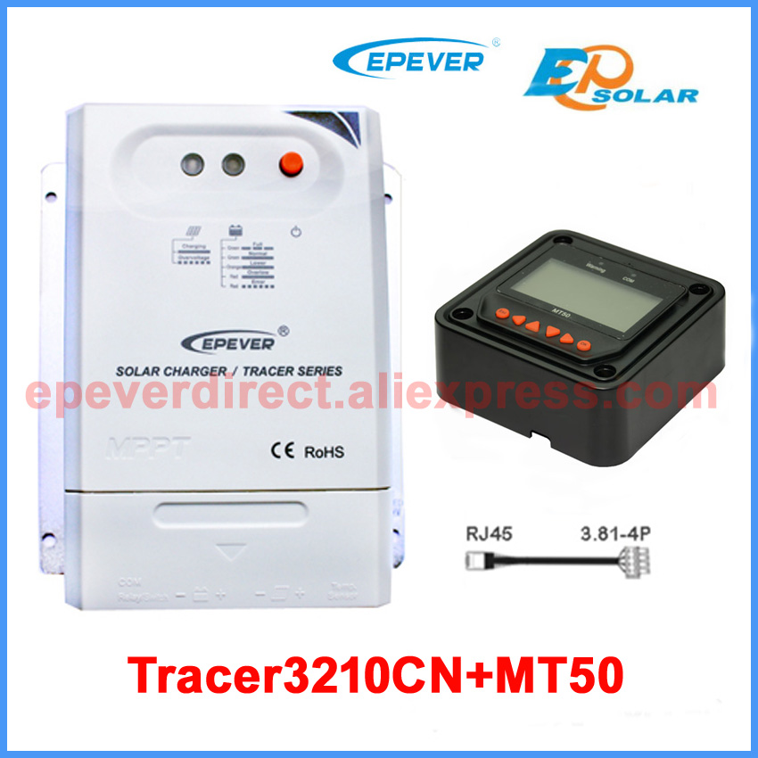 Tracer3210CN 30amp 30A MPPT EPEVER solar charge controller with MT50 remote meter for 12v 24v auto work 10a mppt solar charge controller remote meter mt50 epever battery regulator 100v pv input 12v 24vdc auto with lcd display