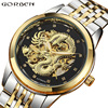 Luxury Automatic Mechanical Wrist Watch Men Chinese Dragon Design Skeleton Gold Silver Male Clock Self Winding