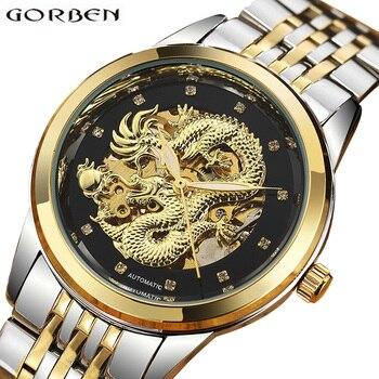 a8a23e74c849 De Lujo reloj mecánico automático de los hombres dragón chino diseño  esqueleto de plata de oro hombre reloj automático reloj Masculino