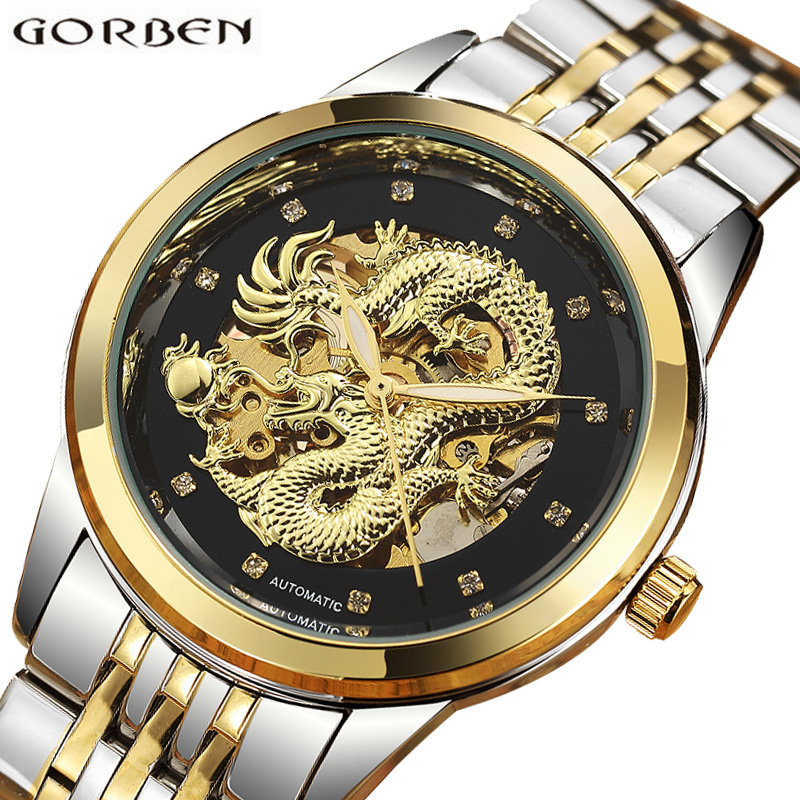 Luxury Automatic Mechanical Wrist Watch Men Chinese Dragon Design Skeleton Gold Silver Male Clock Self-winding Relogio Masculino