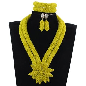 New Yellow African Wedding Beads Jewelry Set Pretty Flower Pendant Brooch Bib Necklace Set Free Shipping WE116