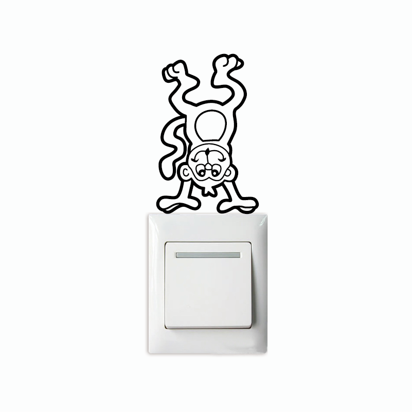 Monkey-7 Creative Monkey Light Swicth Sticker Funny Cartoon Animal Vinyl Wall Sticker Home Wallpaper