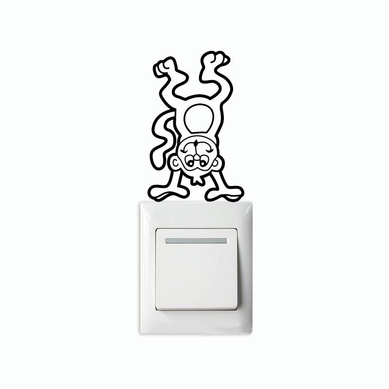 Monkey-7 Creative Monkey Light Swicth Sticker Funny Cartoon Animal Vinyl Wall Sticker Home Wallpaper
