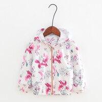 2017 Autumn Baby Girl Coat Cartoon Graffiti Fox Tree Pattern Jacket Windbreaker With Hat For Girls Full Sleeve Toddler Outerwear