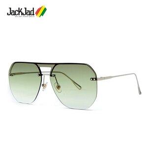 JackJad 2019 Fashion Modern Shield Style Rivets Sunglasses Cool Double Color Lens Brand Design Sun Glasses Oculos De Sol 058(China)