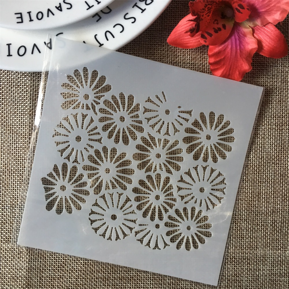 "5"" Daisy Flowers DIY Layering Stencils Wall Painting Scrapbook Coloring Embossing Album Decorative Paper Card Template"