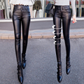 Winter new pants winter leather pants female waist plus velvet Waichuan leggings black feet pants was thin pants