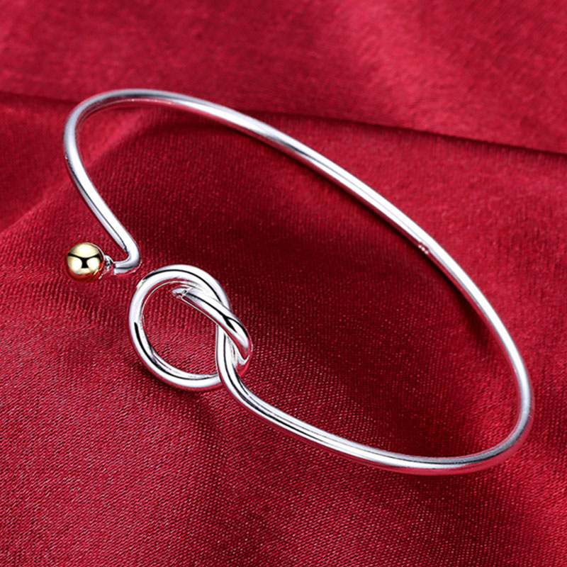 Real 925 Sterling Silver Cuff Bangles Bracelets For Women Beads Opening Simple Geometric Fine Line Jewelry