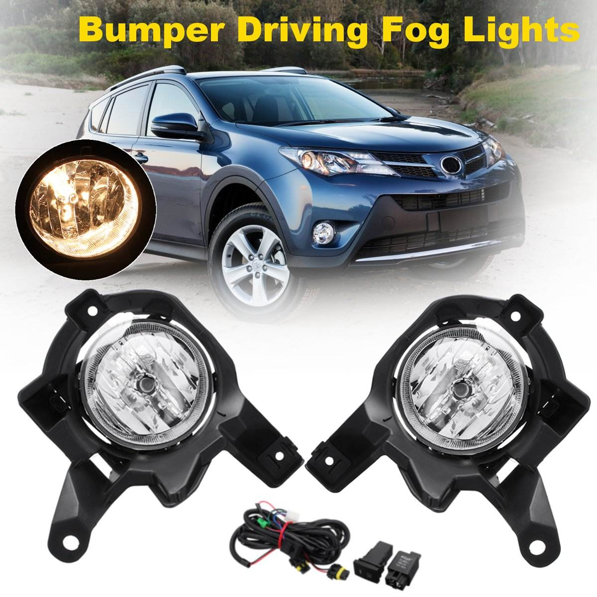 Front Left Right Pair DC 12V 55W H11 Amber Clear Bumper Driving Fog Lights w/ Wiring Harness For Toyota RAV4 2013 2014 2015 fog light set 12v 55w car fog lights lamp for toyota hiace 2014 on clear lens wiring kit free shipping