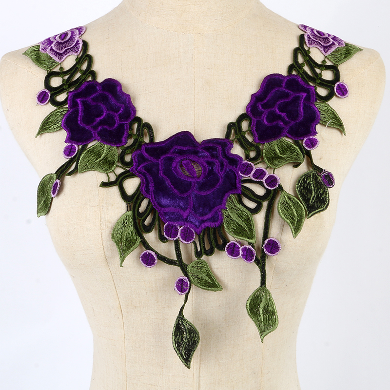 1PC Embroidered Floral Lace Neckline Neck Collar Trim Clothes Sewing Patch ZY