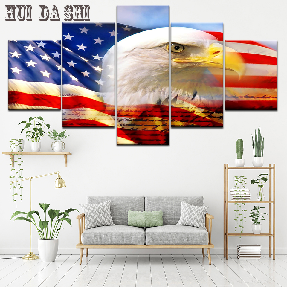 Eagle American Flag 5 Pieces canvas Wall Art Picture Poster Home Decor