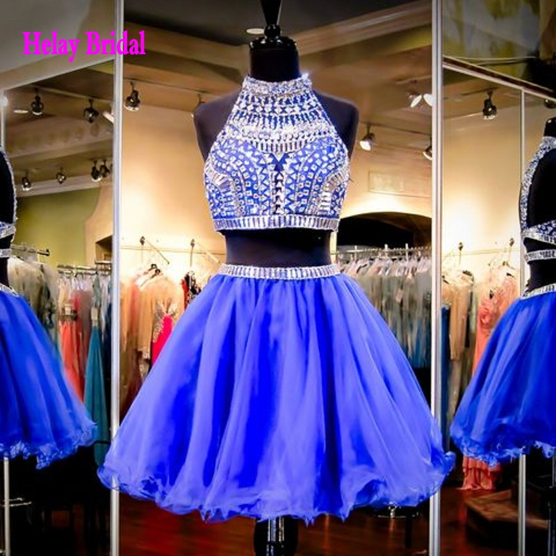 2016 Sparkle Crystal 2 Piece Cheap Short Prom Dress For Teens Two ...
