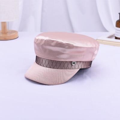 Ymsaid Women's Spring Summer Navy Cap Hat Hat Mletter Satin Flat Top Cap British Retro Beret