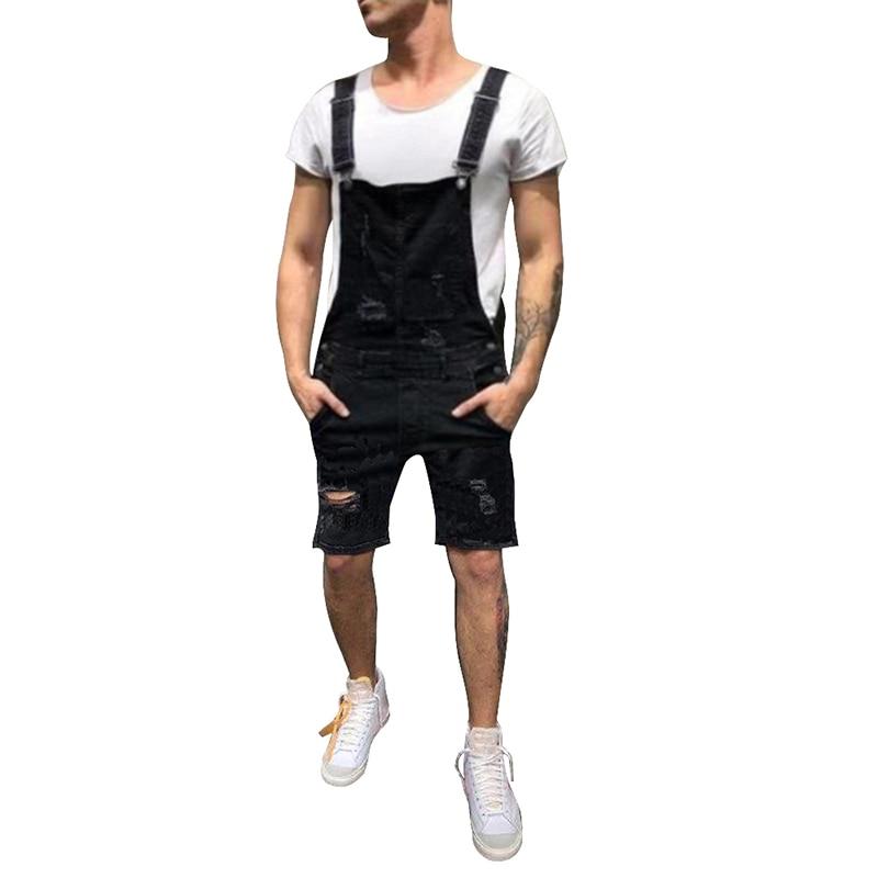 MJARTORIA 2019 Male Street Fashion Men's Ripped   Jeans   Jumpsuits Hi Street Distressed Denim Bib Overalls For Man Suspender Pants