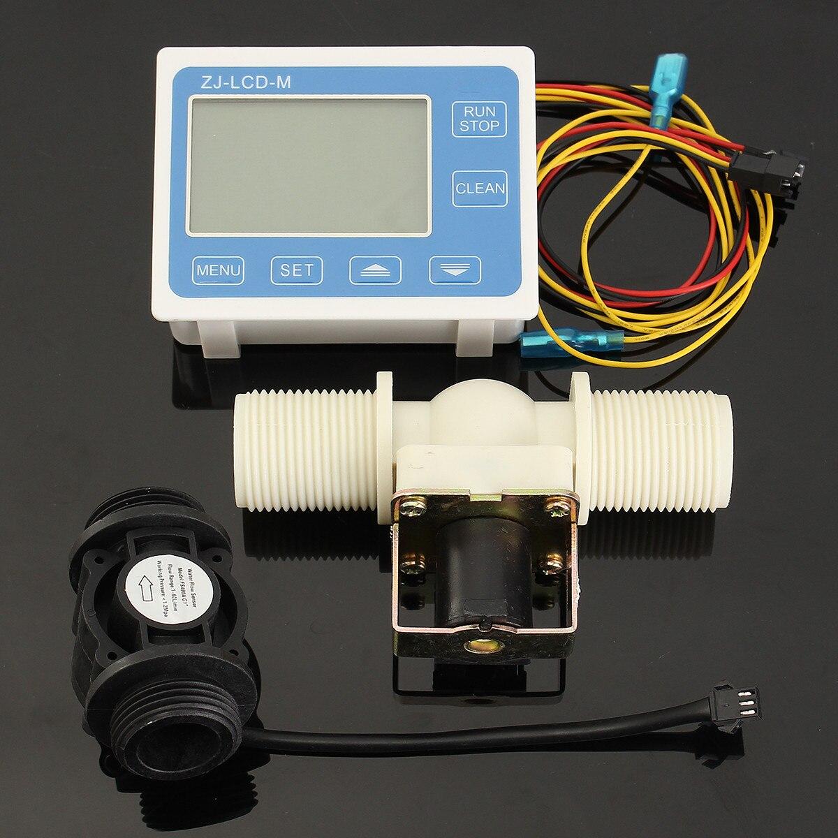 G3/4'' Water Flow Control Sensor Meter Solenoid Valve Gauge LCD Digital Display g1 2 water flow control lcd display flow sensor meter solenoid valve gauge new