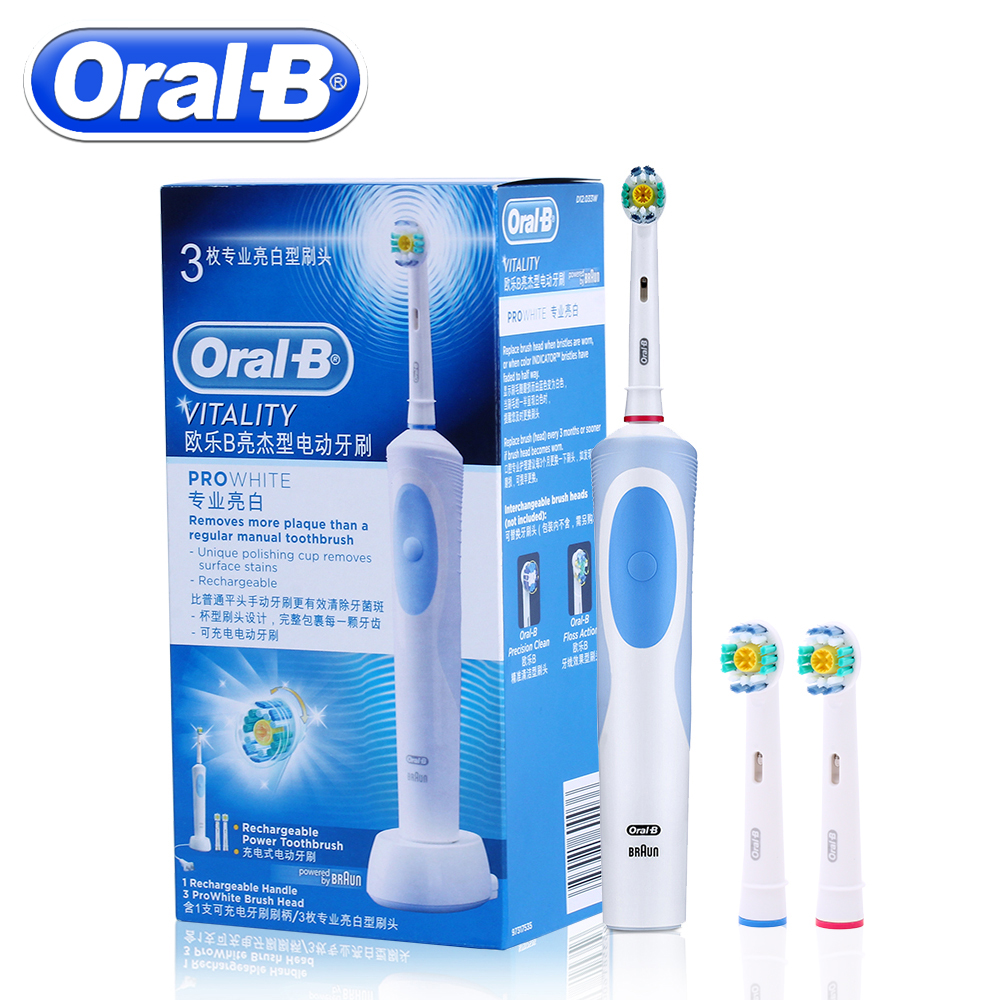 Oral B Ultrasonic Electric Toothbrush Rechargeable With 3 Brush Heads ProWhite Vitality D12013W Sonic Tooth Brush Teeth