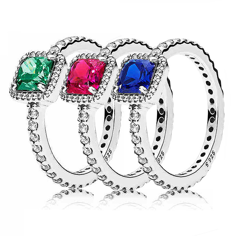 Authentic 925 Sterling Silver Ring Blue/Green/Red Timeless Elegance Rings For Women Wedding Party Gift Fine Pandora Jewelry