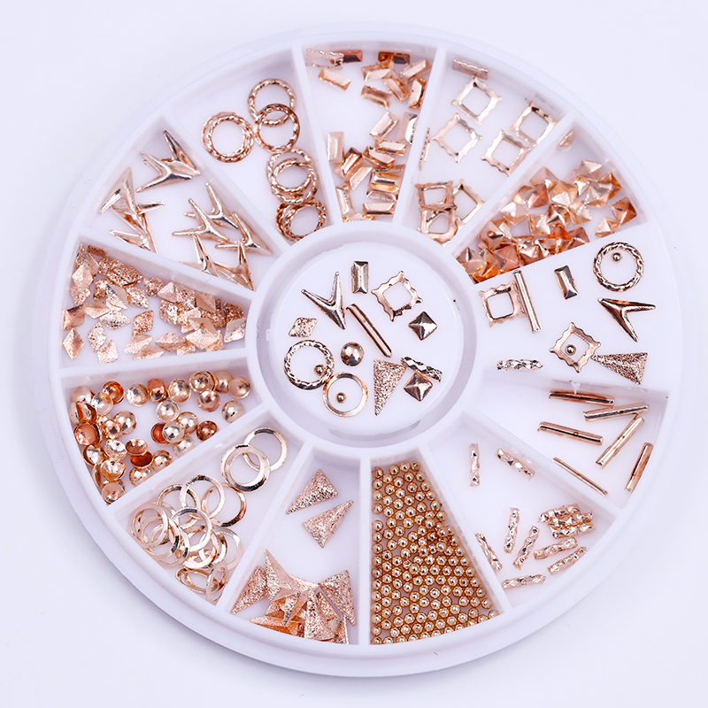 Rose Gold Rivet Nail Studs 3D Nail Art Decorations in Wheel Circle Round Square  Beads DIY Phone Decoration UV Gel circle