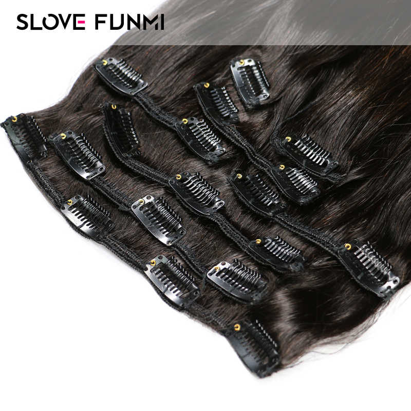 Slove Funmi Silk Straight Clip In Human Hair Extensions Remy Brazilian 8 Pieces Natural Color 2 Pack for Full Head Hair 120g