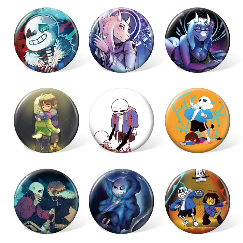 Backpack & Accessories Of Anime Game Undertale Badge Cartoon Brooch Cosplay Accessories For Gift (9pcs/set )