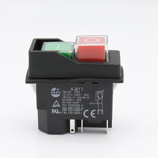 Interruptor de botón electromagnético impermeable AC250V 16A, 5 pines KJD17 220-240 V, interruptores de seguridad para herramientas eléctricas de arranque magnético