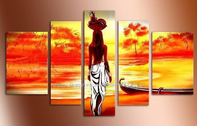 Modern African Landscape Oil Painting Decoration Home Wall Art Pictures Abstract Restaurant Background Paintings