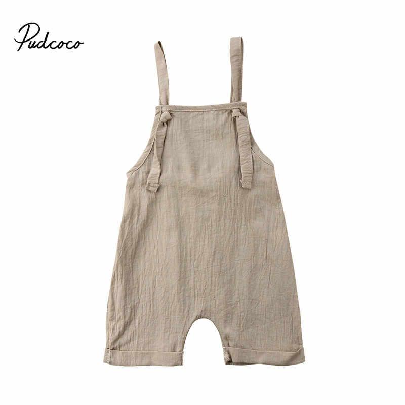 859c1efed4b3e Summer Toddler Kids Boy Girls Bib Romper Summer Linen Sleeveless Kids Girls  Strap Suspender Overalls Jumpsuit