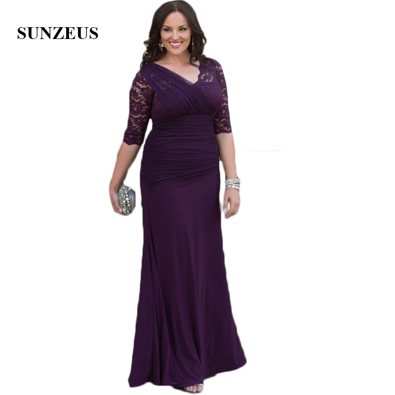 Us 130 64 8 Off V Neck Sheath Purple Wedding Party Dresses For Mom Half Sleeve Plus Size Mother Bride Dress Pleats Robe Mere De La Mariee Smd14 In