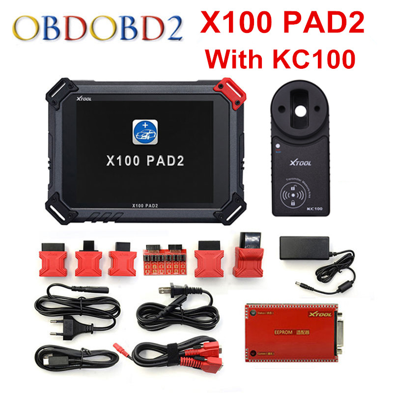 Original XTOOL X100 Pad2 Pro Auto Key Programmer With KC100 For VW 4th 5th Pro PAD 2 EPB EPS OBD2 Odometer Multidiag-Languages obdstar vag pro car key programmer epb airbag srs odometer mileage change obd 2 scan tool for vw audi skoda seat volkswagen