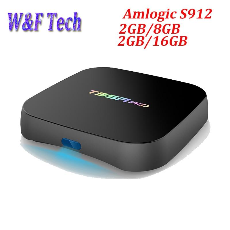 10pcs T95R Pro Android TV Box Amlogic S912 Octa core 2GB RAM 8GB/16GB ROM Dual Band WiFi Media Player H.265 UHD 4K Player chycet t95r pro amlogic s912 smart android 6 0 tv box octa core 2gb 16gb 4k 2k dual band wifi smart tv player set top box