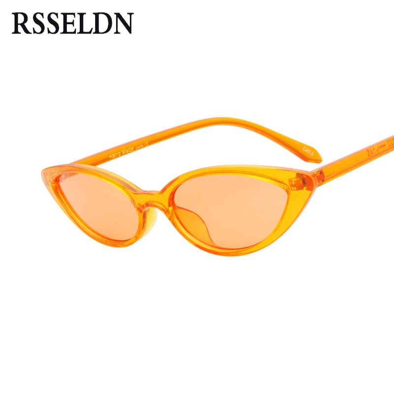 RSSELDN Cat Eye Small Sunglasses Women 2018 Vintage Black Yellow Red Stylish Transparent Frame Sun glasses Female Cat Eye UV400