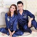 Зима Женская Мужская Пара Шелк Пижамы Костюмы Установить Нагрудные Твердые Длинным Рукавом Китайский Дракон Печати Pijamas Пижамы Пижамы