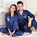 Winter Womens Mens Couple Silk Pajamas Suits Set Lapel Solid Long Sleeve Chinese Dragon Printing Pijamas Pyjamas Sleepwear